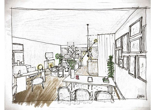 I do sometimes prefer sketches over photorealistic renderings / visualizations - allowing to let the mind and imagination of the client wander.  Do you agree?  #retaildesign  by Alana Flick Interiors Innenarchitektur Shop Design @alana_flick_interiors  #interiorarchitecture #interiordesign #hospitalitydesign #alanaflick #hamburg #innenarchitektur #hotel #bar #restaurant #retail #spa #bemyguest