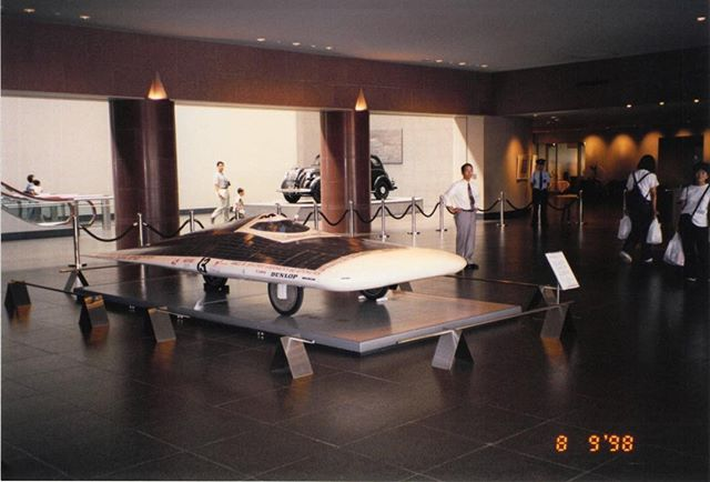 Our MIT Solar Electric Vehicle, Manta GT, on display in the Toyota Automobile Museum, Japan, in 1998. #Solar #Electric #Car #SunPower #Japan #Engineering #EngineeringArt #Sustainability