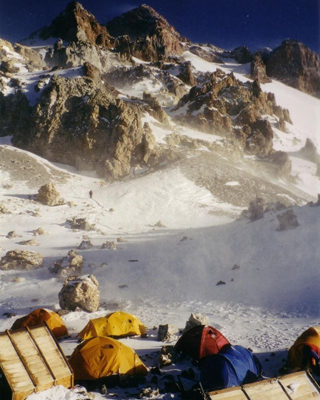 Before the summit. Camp Berlin on Mount Aconcagua, Andes Mountains. Credit: C.E. Carr. #Exploration #Mountaineering #HighAltitude #Adventure #Adaptation