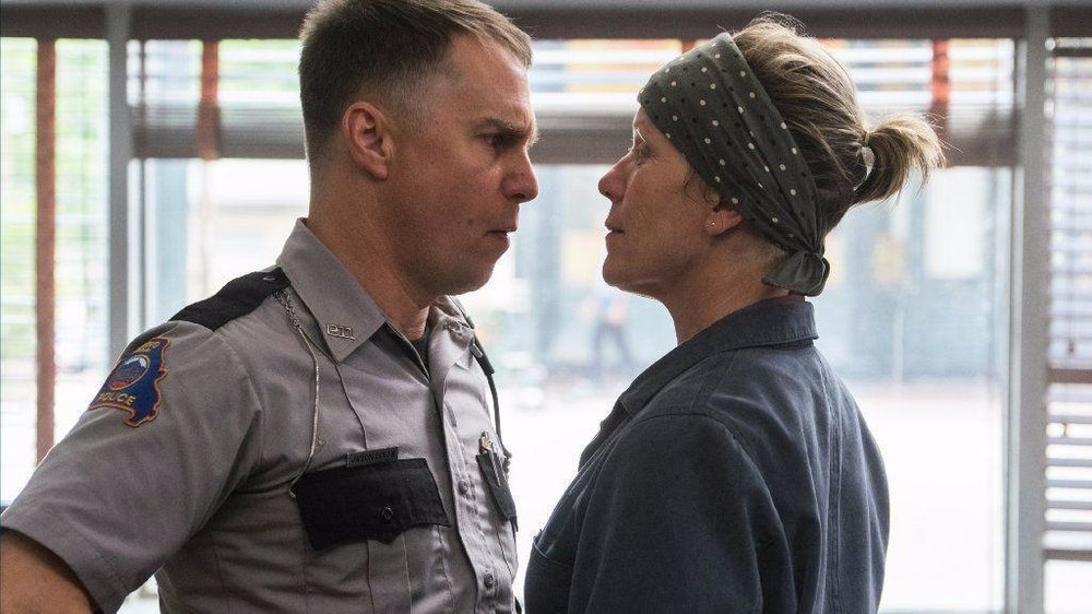 Mildred Hayes (Frances McDormand) squares up to Officer Dixon (Sam Rockwell). Images for this post provided by Fox Searchlight Pictures.