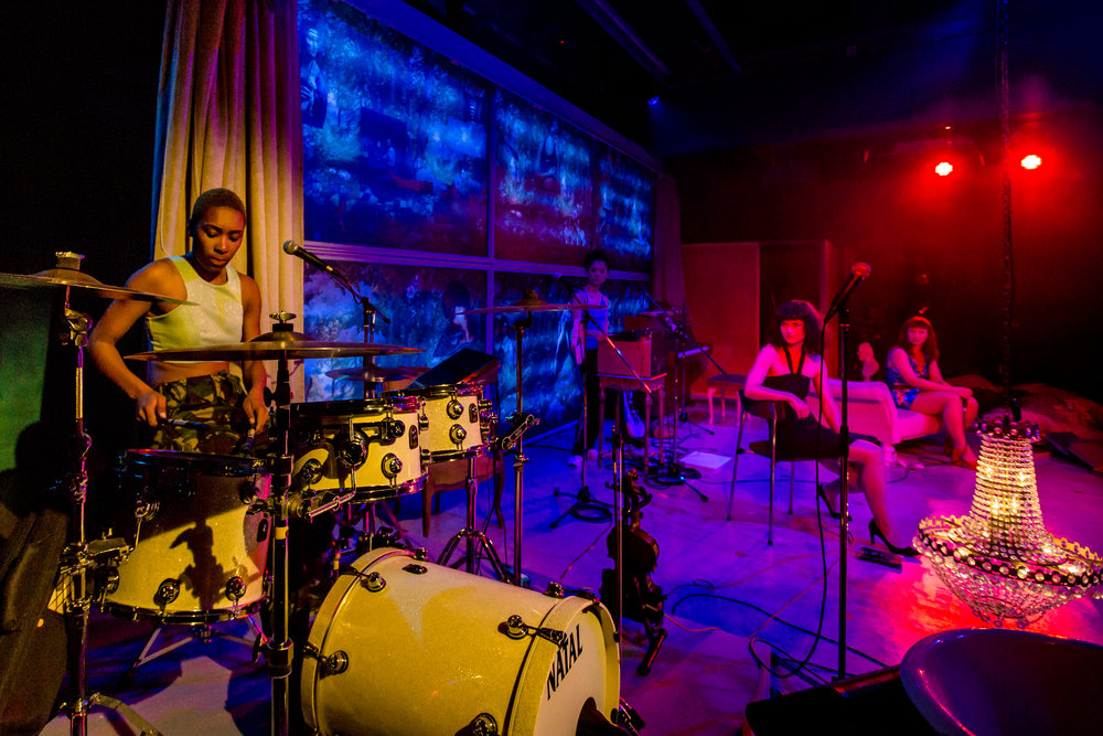 Chloe Rianna (drums), Yoon-Ji-Kim (synth), Becky Wilkie (Irena), Abbi Greenland (Masha) in 3 SISTERS BY RASHDASH Photo Richard Davenport.JPG