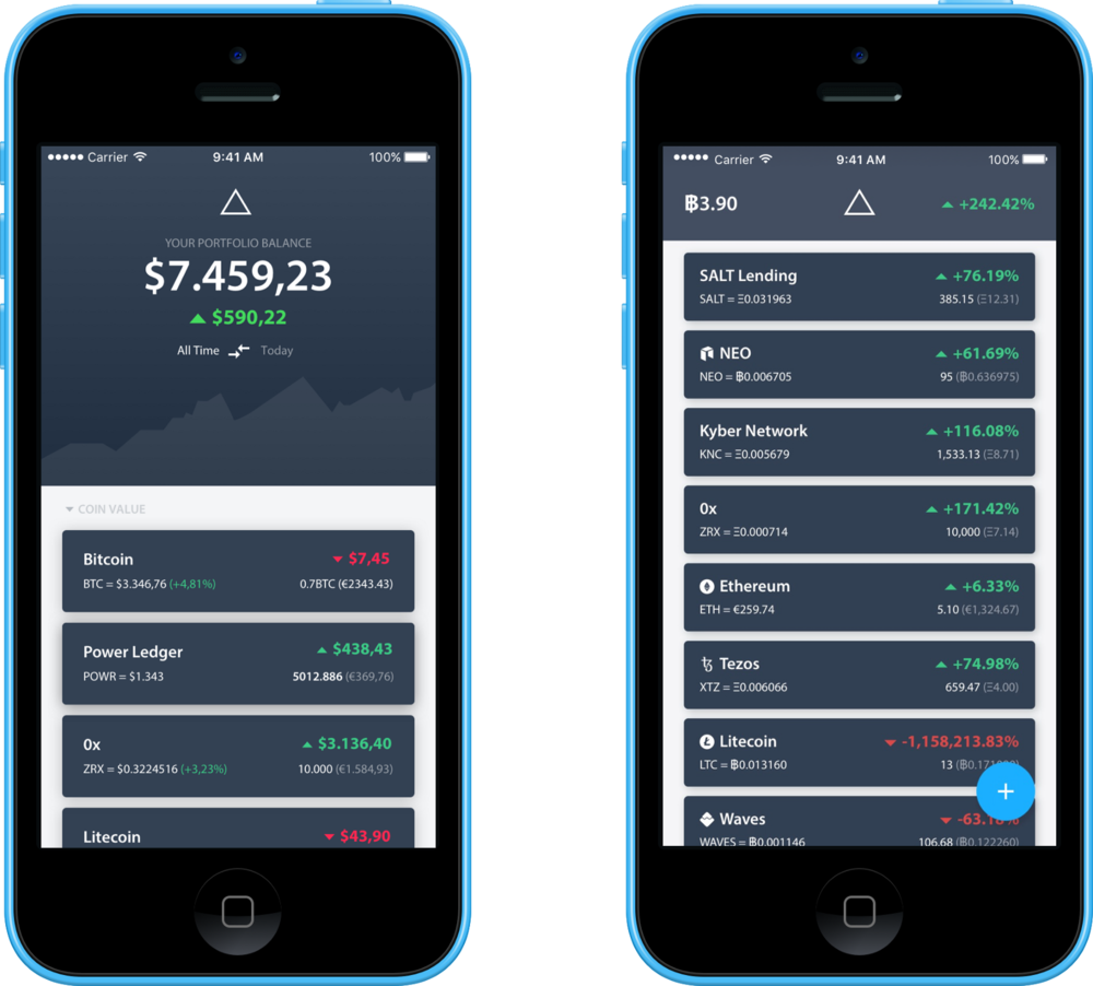This is the Delta App and more for visual representation. Currently it's just a portfolio managers, but I could imagine a similar interface that aggregates your actual holdings and allows for seamless transactions.