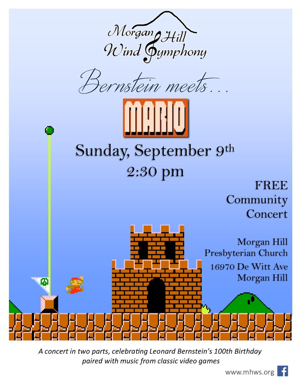 Bernstein meets Mario - Sunday, September 9th, 2018 at 2:30 PMMorgan Hill Presbyterian Church16970 De Witt Ave, Morgan Hill