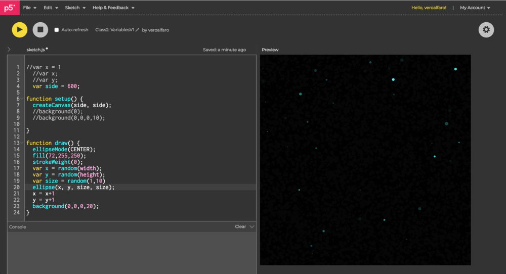 Starry night, first attempt to move the stars already randomly generated