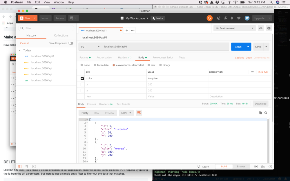 Express tutorial using postman