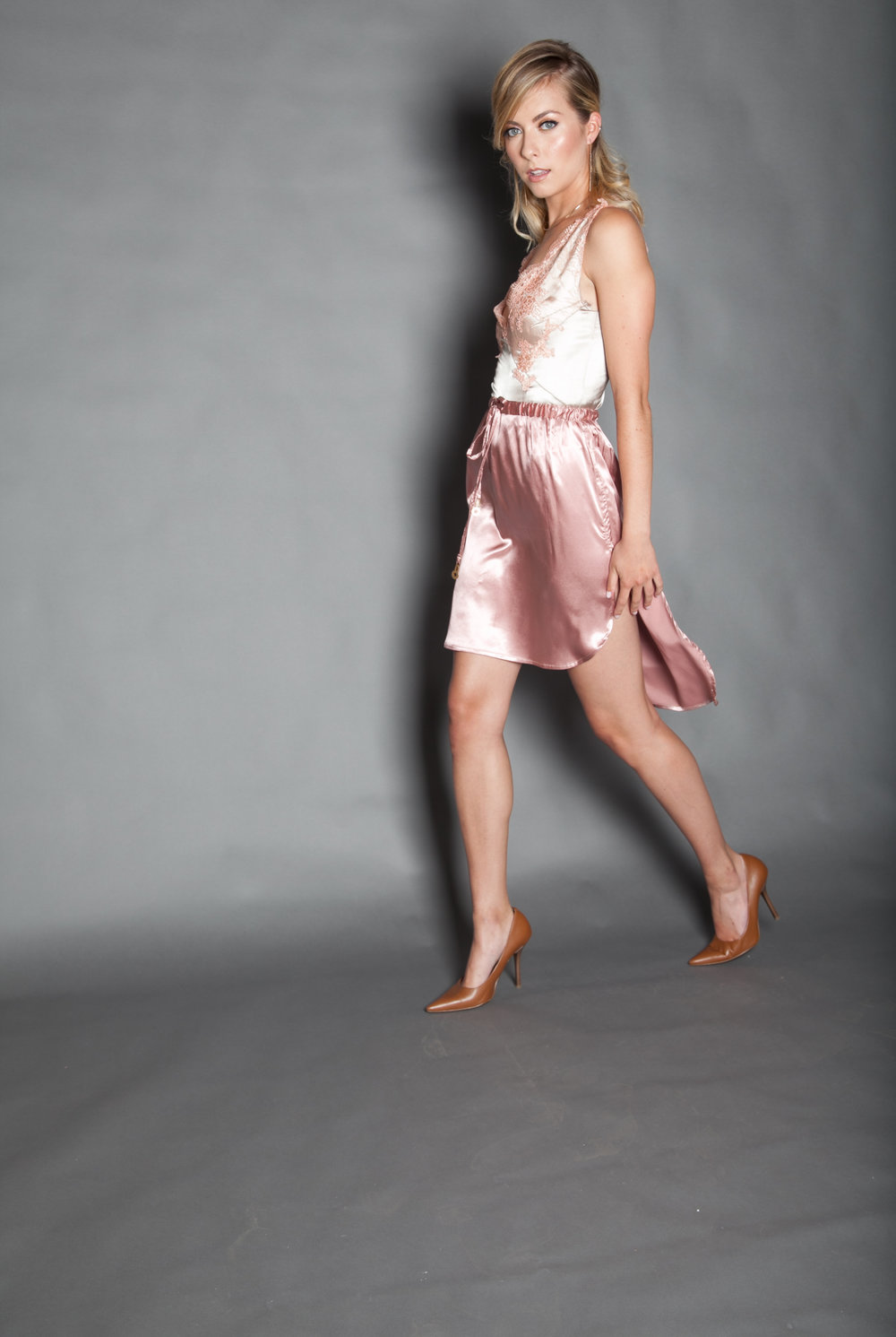 Stretch satin drawstring high low skirt 1.jpg
