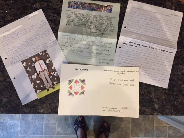 Letters from children sponsored by the Kingdom Seekers class