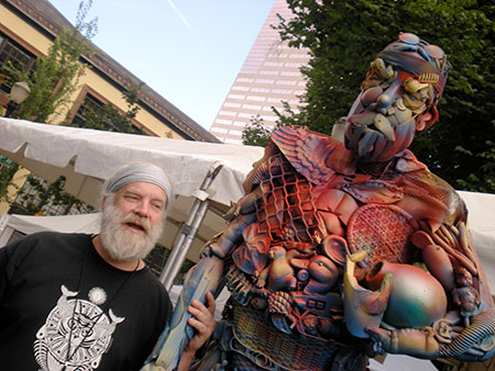 "Greg with ""Sir Greg"" at Art in the Pearl, 2012."