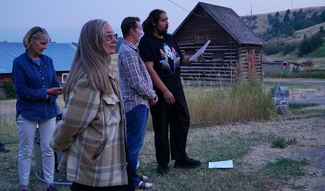 Dede Taylor, Director Mary Ellen Strom, Greg Young and Adrien a Wagner during rehearsal at the Kelly Ranch. We can't wait for Gabriel Canal to open next week. Sign up at mountaintimearts.org.