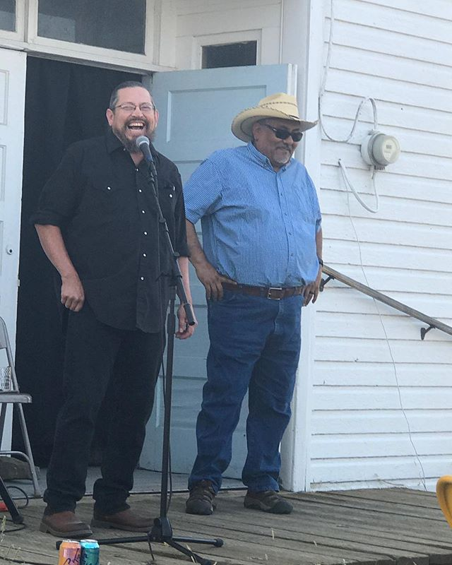 We love this photo of Bently Spang and Troy Spang at the opening of Modern Warrior Series: War Shirt #6 - Waterways. #bentlyspang #mountaintimearts #contemporaryart #videoartist #wetlands #waterways #northerncheyenne