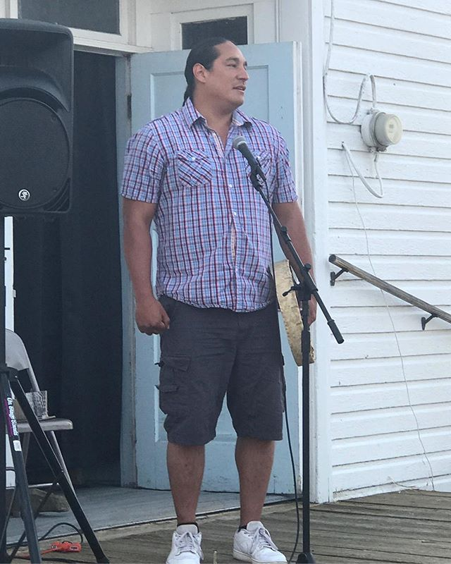 Michael Spears sang an honor song at Bently Spang's opening in July in celebration of the newest piece from his Modern Warrior Series, War Shirt #6 - Waterways.