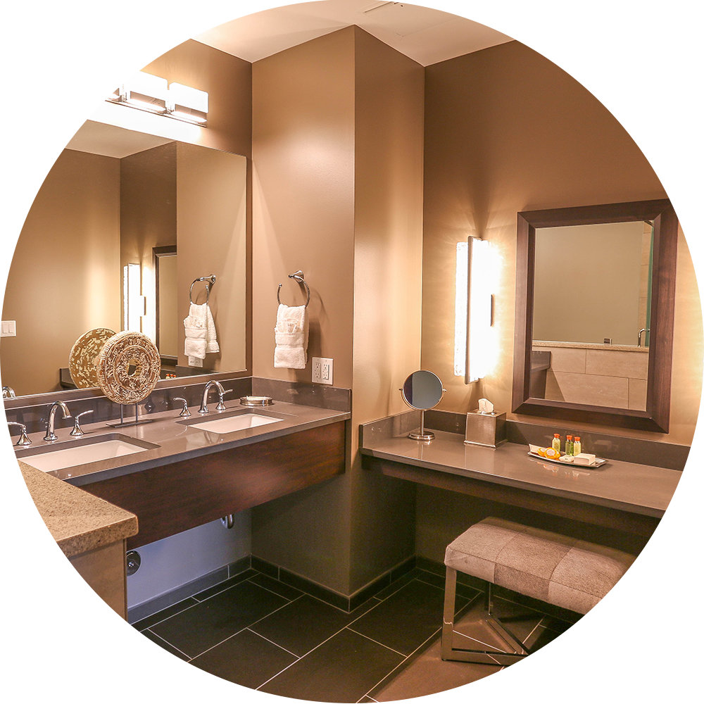 Newly renovated LCCR suite bathrooms captures a  spa-like  feel for guests.