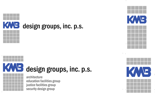 """Future iterations of the logo added color, and further developed the graphic elements of the """"KMB."""" - The firm was renamed KMB Design Groups, to highlight the expertise of the firm in various project types. Gray blocks first appeared around 2003, accompanying the """"KMB"""" - now redesigned and depicted in blue."""