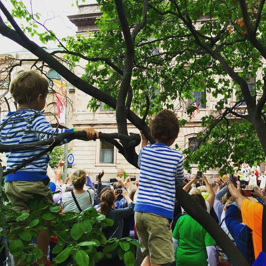 Photo Credit: @jamesgraysonhicks; My little grandsons, trying to get a glimpse of the Pope.
