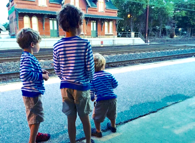 Photo Credit: @jamesgraysonhicks; My three grandsons, waiting for the train to see Pope Francis.