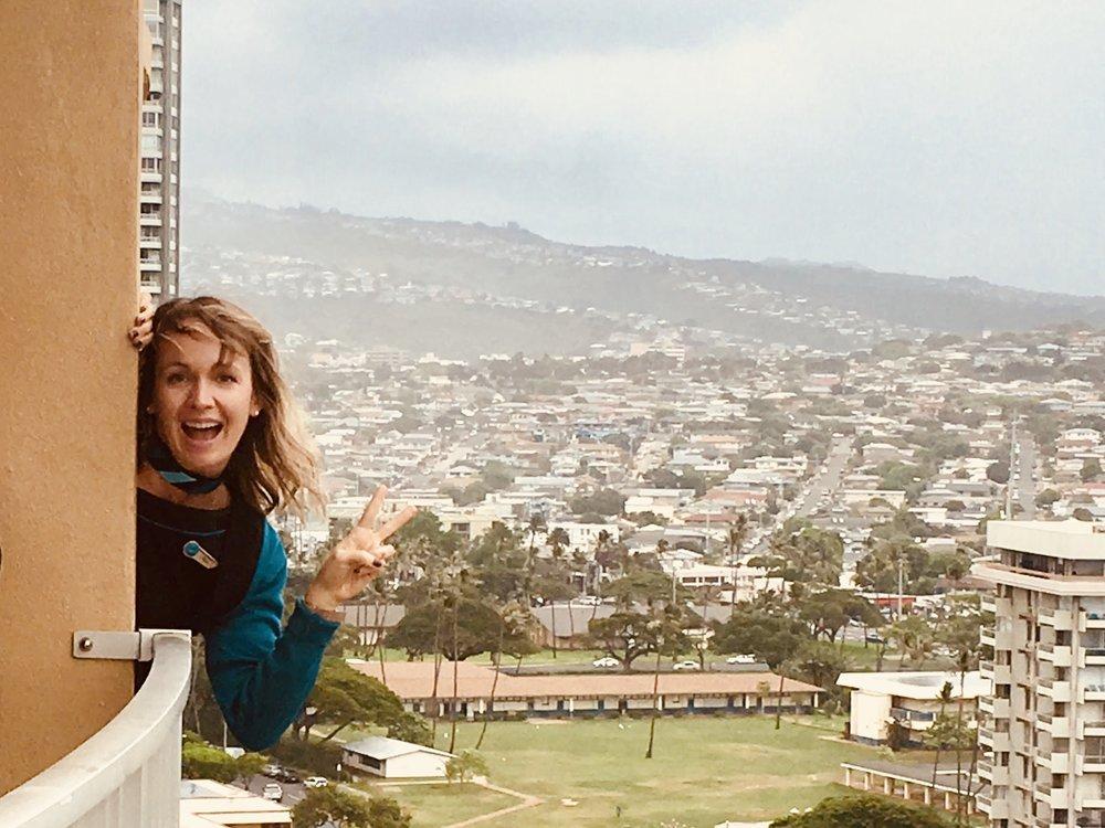 Me, poking my head off my room's lanai in Waikiki. No Regina pics, sorry folks.