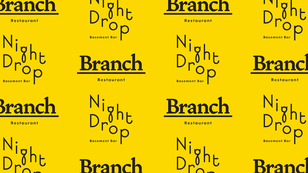 Branch (Restaurant) & Night Drop (Basement Bar) Logos.