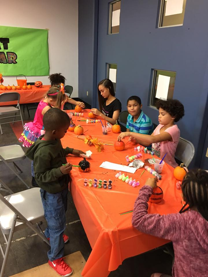 Pumpkin decorating at our fall party