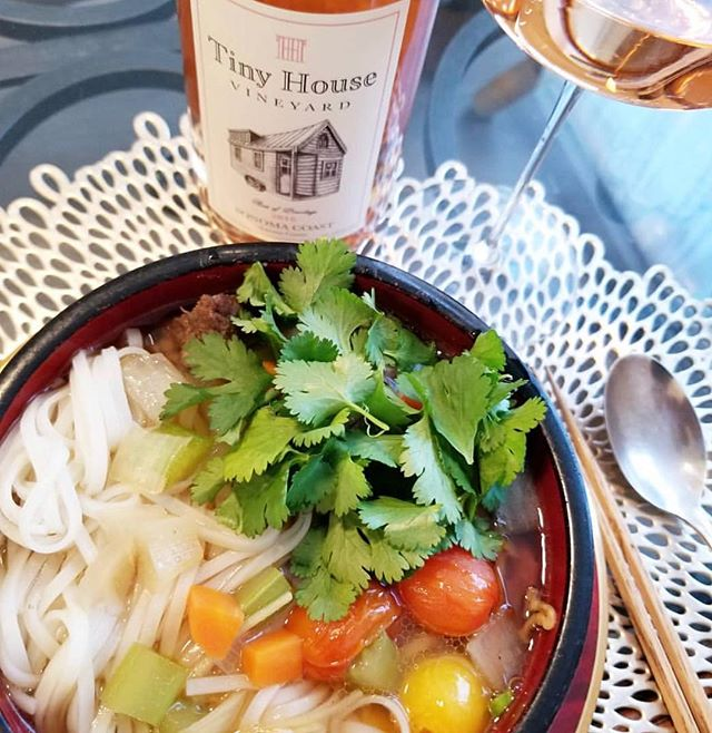 Homemade Pho and Rose of Pinotage. Credit @chefronv for making this delicious pho and taking this beautiful photo. We personally love pairing our rose with Asian inspired dishes. Pho, ramen, and sushi are just a few pairings we highly recommend! #sonomacoast #rosé #pinotage #instawine #wino #wine #vino #winelover