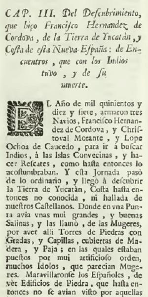 Un extracto de la descripción de Torquemada (1615) del desembarco de Córdoba en Isla Mujeres