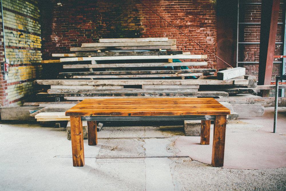 BeReclaimed - Reclaimed Wood Table - Douglas Fir with Custom Steel Skirt - Evergreen Brick Works.jpg