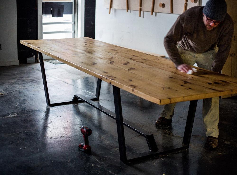 BeReclaimed - Reclaimed Wood Table - Pine on Custom Steel Frame - Riverdale Toronto.jpg