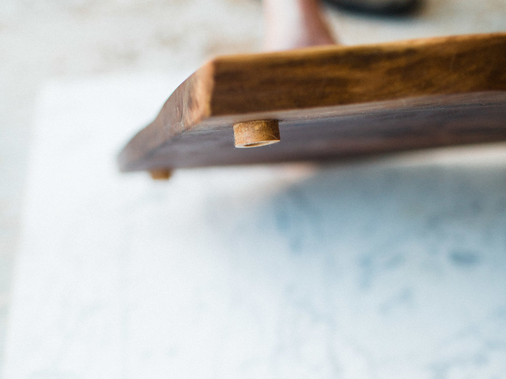 BeReclaimed - Black Walnut Cheese Board - Detail of Feet.jpg