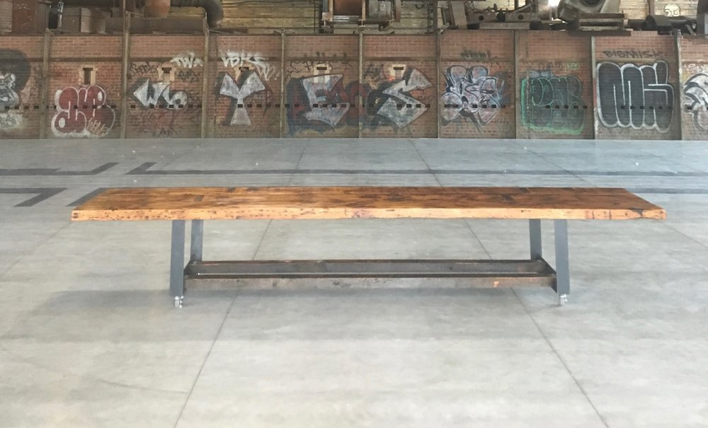 BeReclaimed - Reclaimed Wood Table - Salvaged Pine on Custom Metal Legs - Evergreen Brick Works.jpg