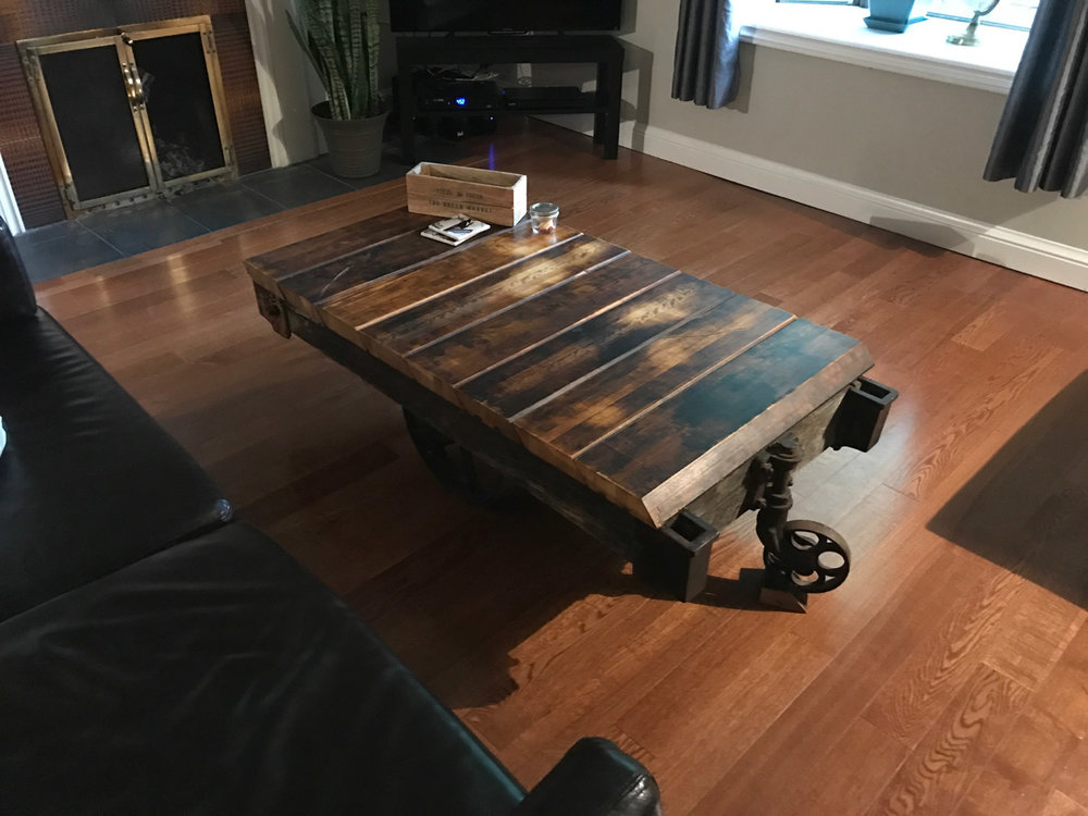 BeReclaimed - Custom Coffee Table - Industrial Cart with Reclaimed Wood Maple Top - Collingwood Ontario.jpg