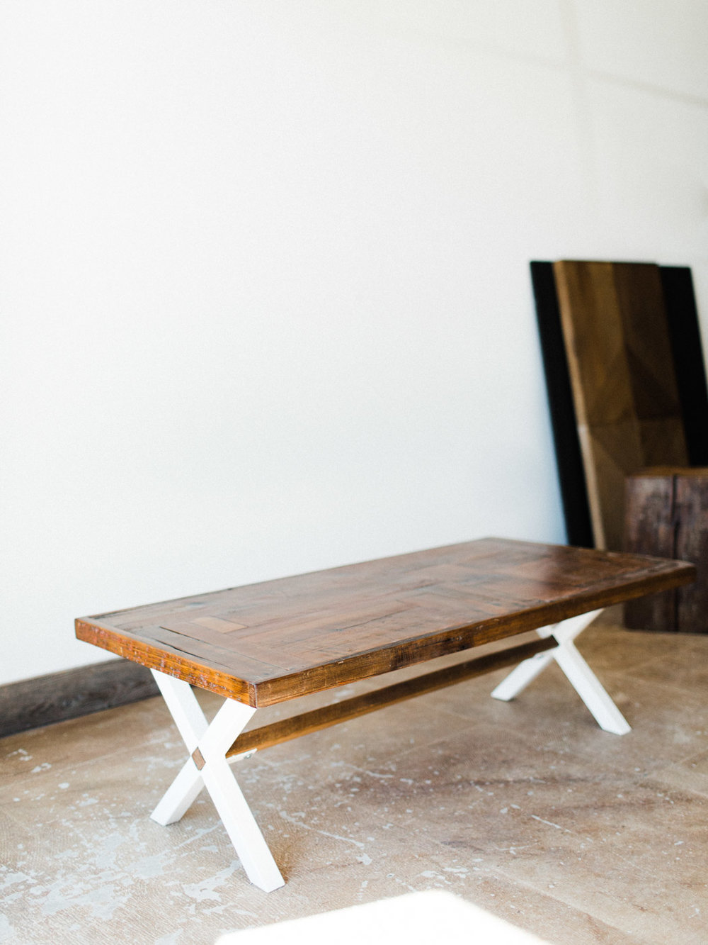 BeReclaimed - Custom Reclaimed Wood Coffee Table - Brown Barnboard on a Custom Welded White X frame.jpg