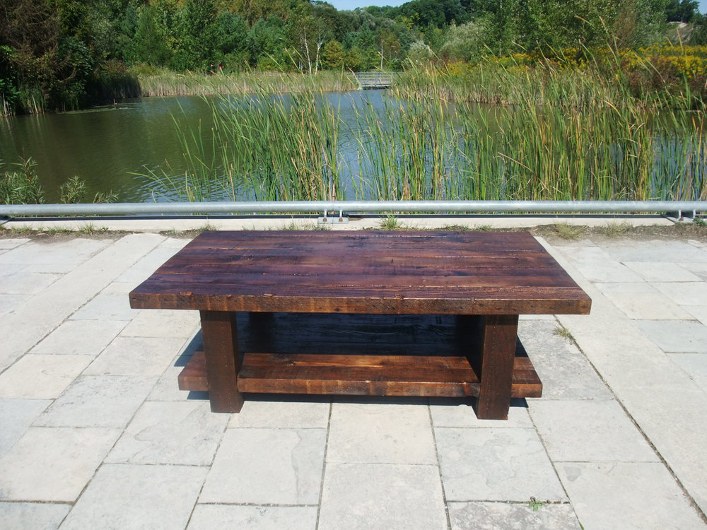 BeReclaimed - Reclaimed Wood Coffee Table - Custom Pine with Rustic Patina - Evergreen Brick Works.jpg