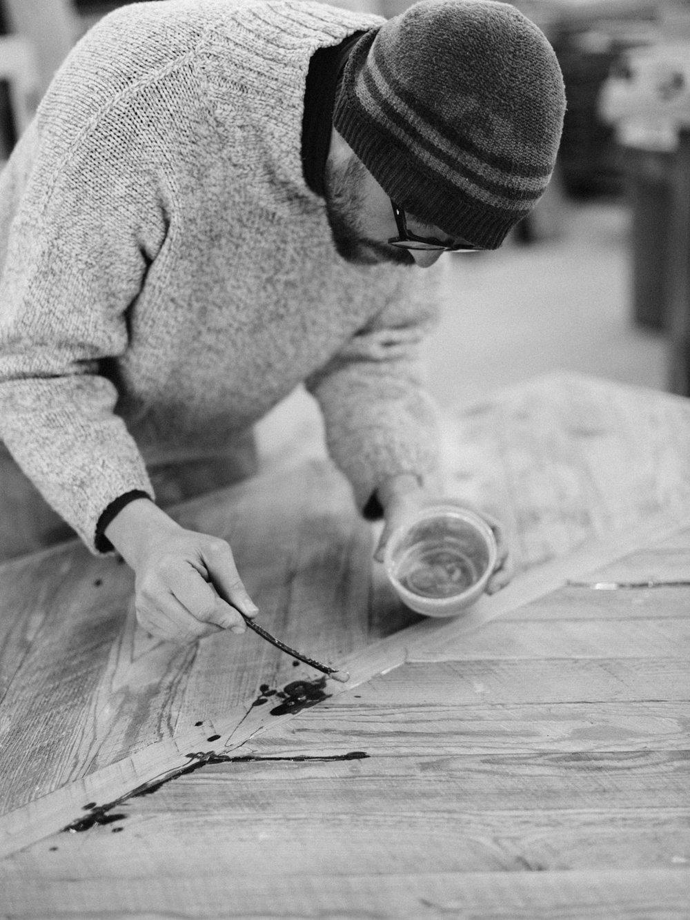 BeReclaimed - Reclaimed Wood Table - Brown Barnboard - Bernard Apply Epoxy.jpg