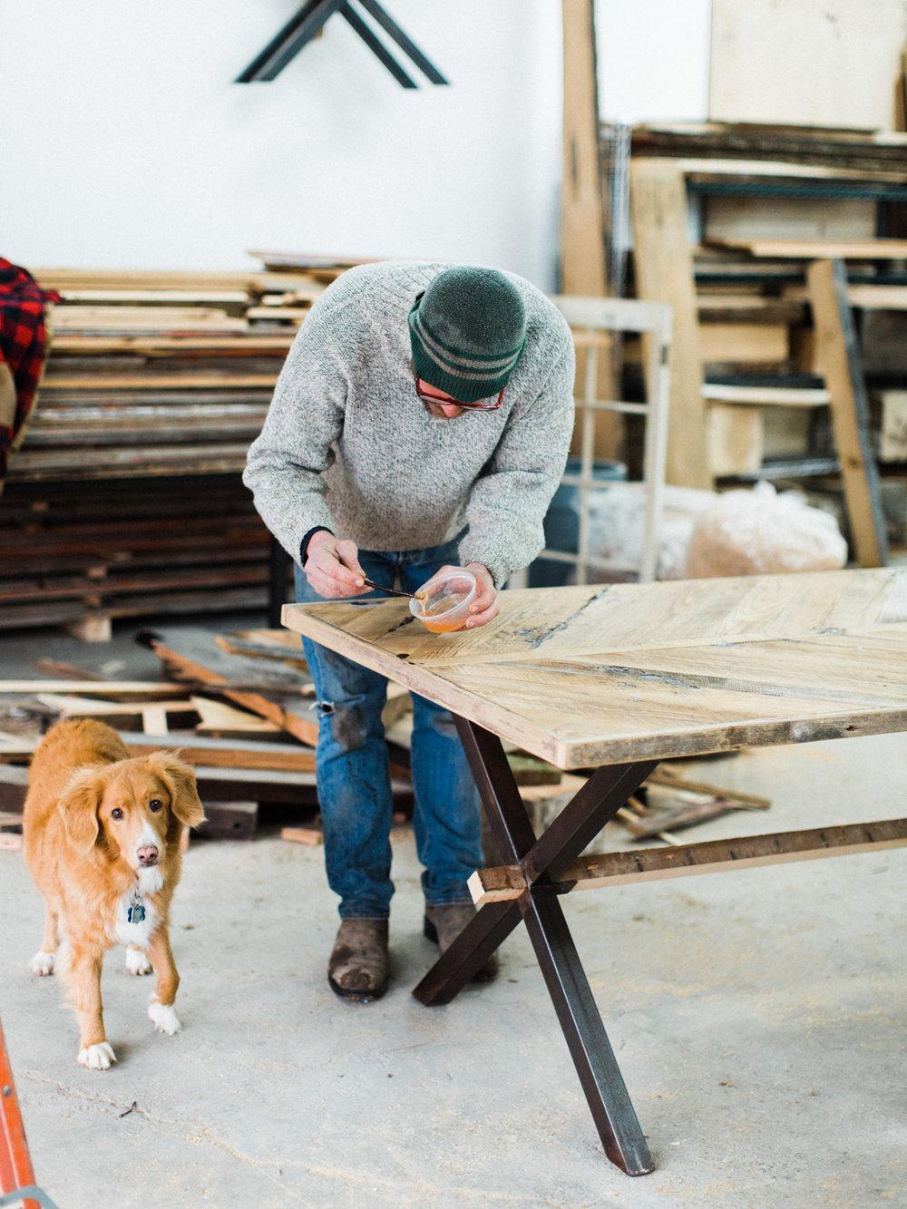 BeReclaimed - Reclaimed Wood Table - Brown Barnboard Table - Bernard applying Epoxy.jpg