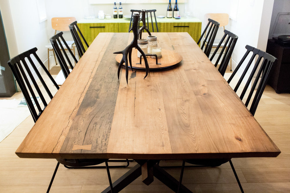 BeReclaimed - Reclaimed Wood Table - Custom Made Elm with Steel X Base - Cabbagetown.jpg
