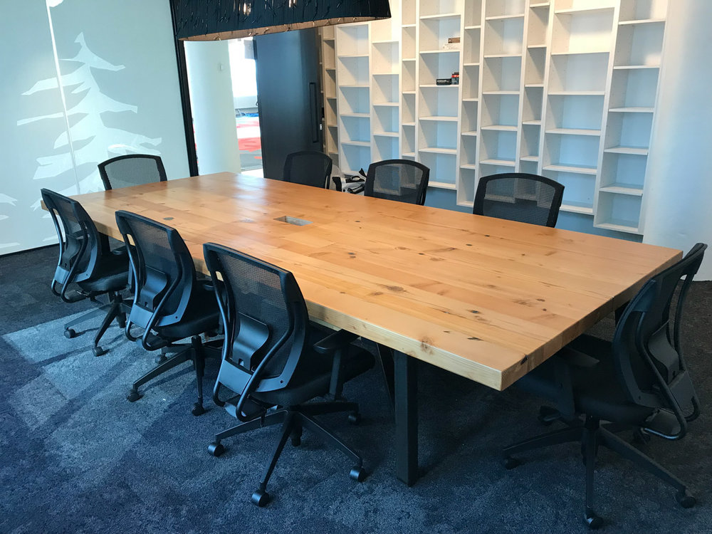 BeReclaimed - Reclaimed Wood Table - Douglas Fir on Steel Frame - Boardroom Ecobee Toronto.jpg