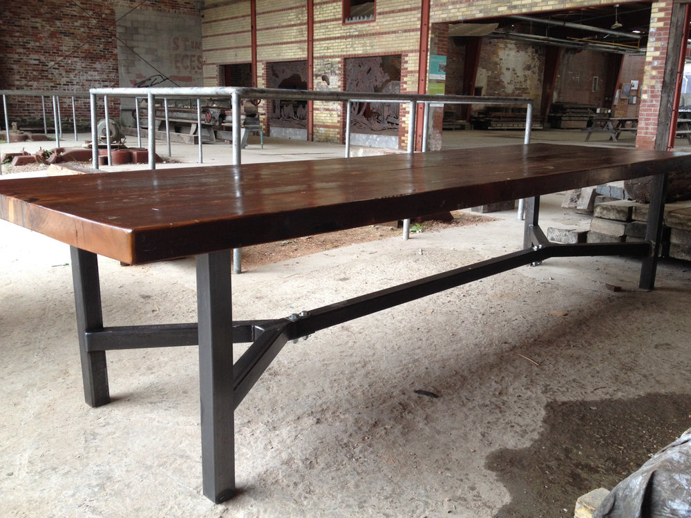 BeReclaimed - Reclaimed Wood Table - Douglas Fir with Custom Steel Frame - Evergreen Brick Works.jpg