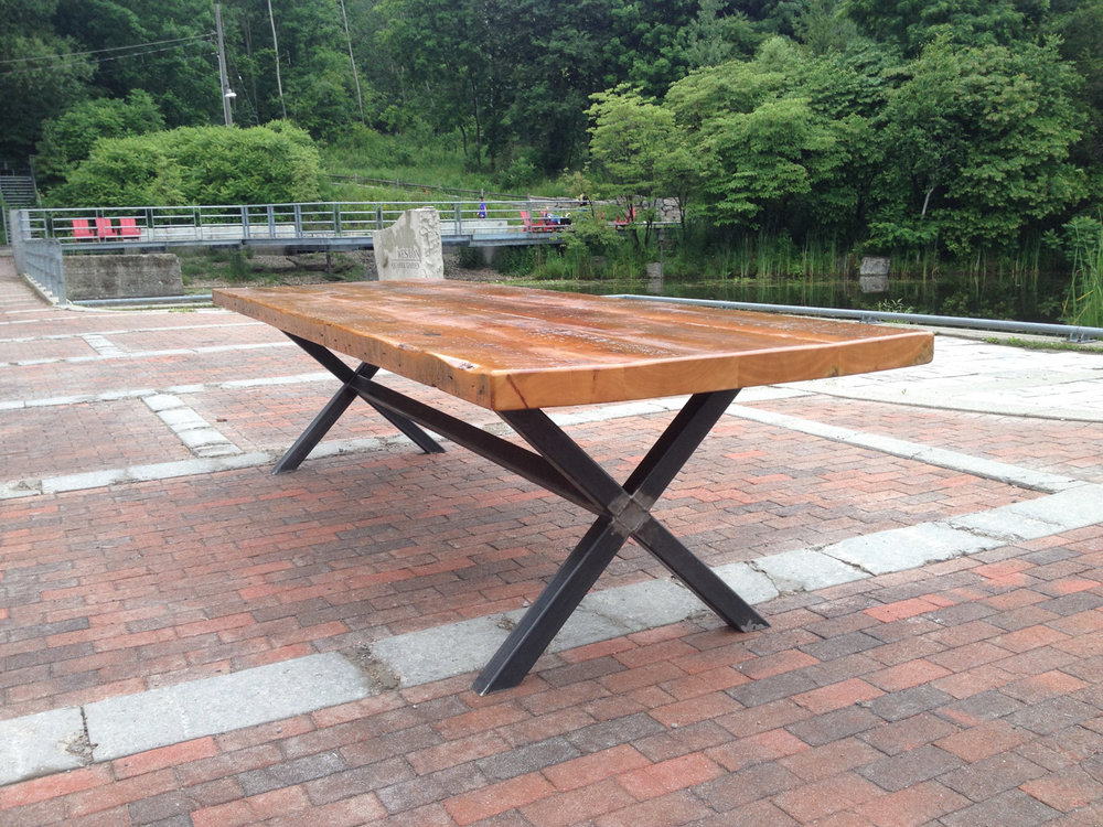 BeReclaimed - Reclaimed Wood Table - Douglas Fir with Custom Welded Steel X Frame Base - Evergreen Brick Works.jpg