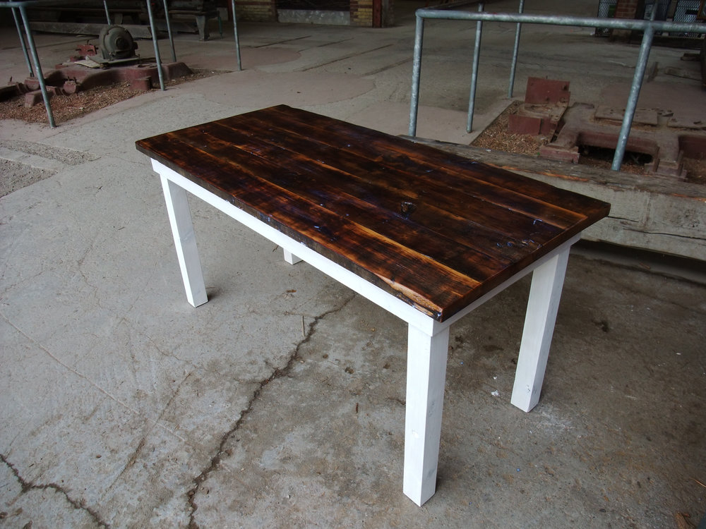 BeReclaimed - Reclaimed Wood Table - Pine with Rustic Patina and White Wash Legs.jpg