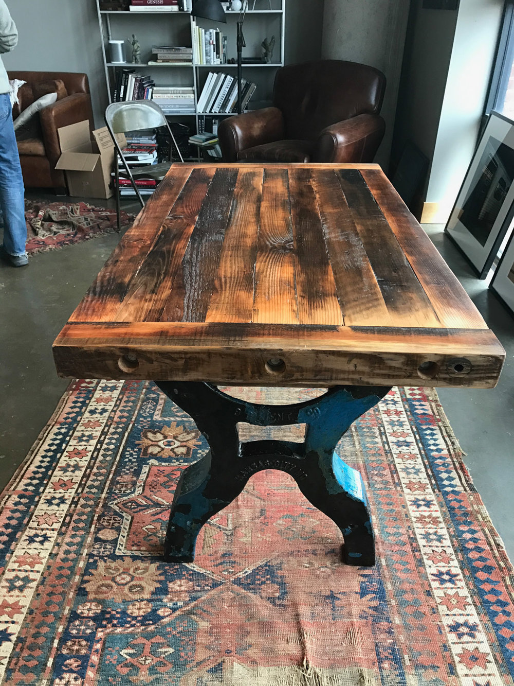 BeReclaimed - Reclaimed Wood Table- Custom Douglas Fir Table from Racking Salvaged from Torontos Historic Distillery District.jpg