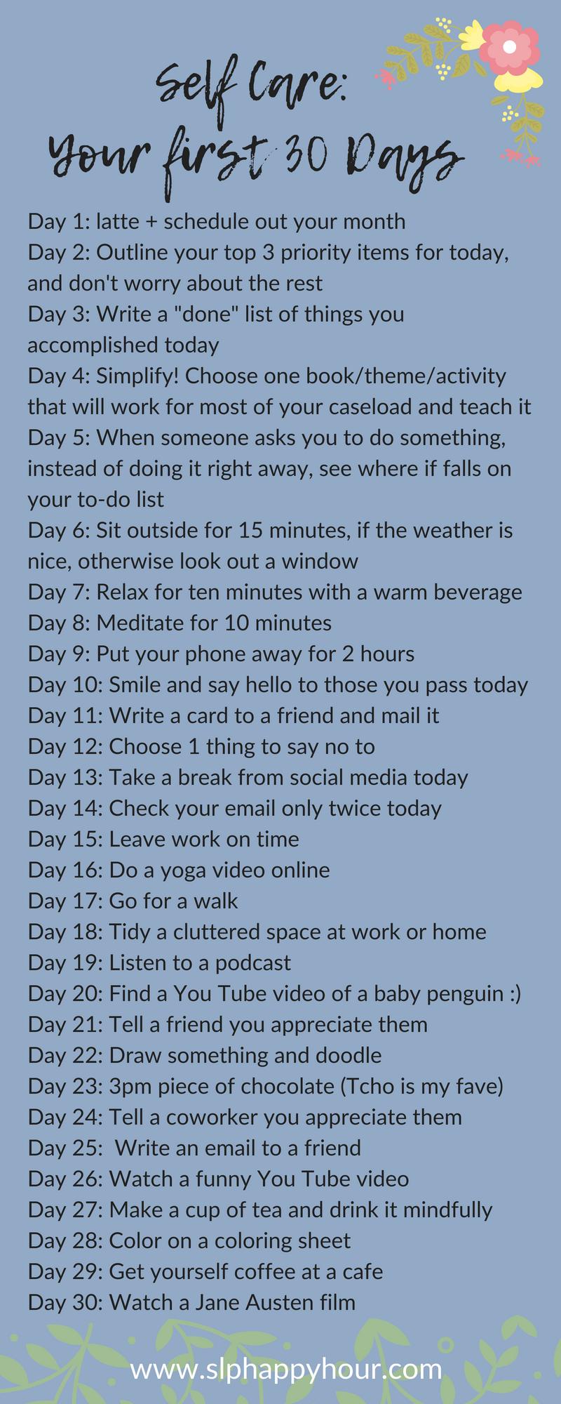 30 self care ideas