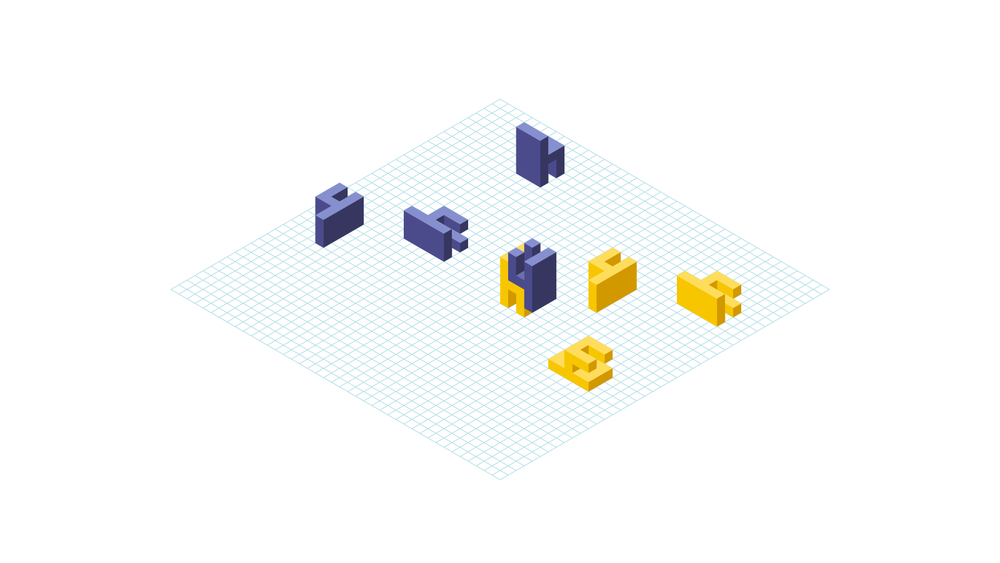 I created multiple isometric chairs in order to achieve a logo animation.