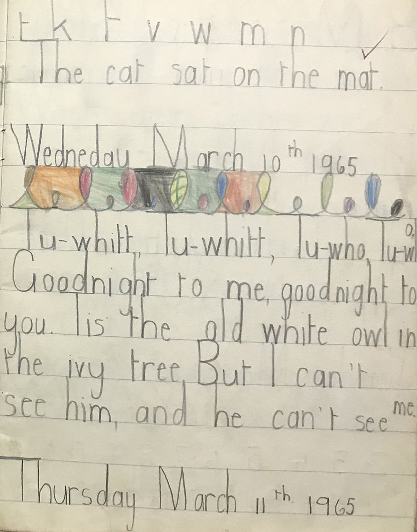 An example of a student's writing book from the 1960s