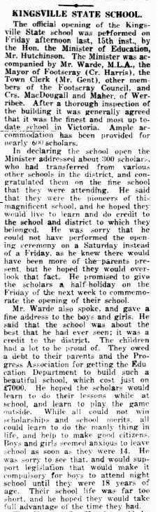 Newspaper article about the opening of the school, 'The independent, 23/08/1919