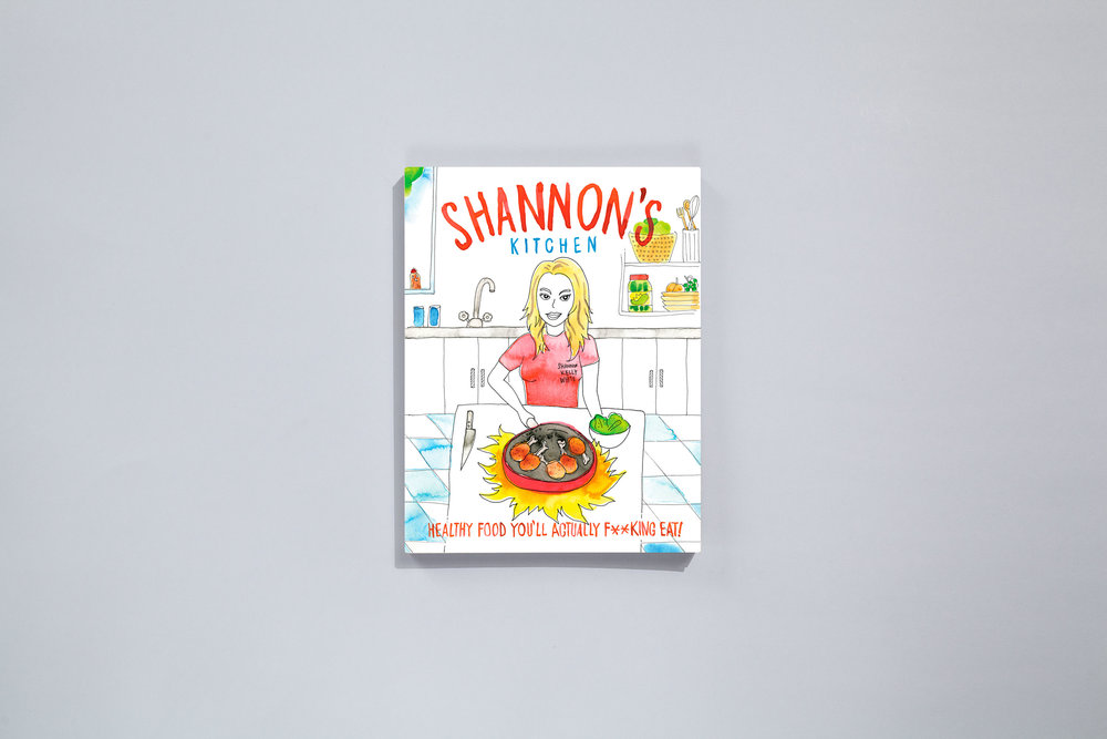 Title – Shannon's Kitchen: Healthy Food You'll Actually Fucking Eat Author – Shannon Kelly White Designers – Daniel New & Evi O / OetomoNew Photographer – Michael Woods Illustration – Evi O & Daniel New Stylist – Katrina Duncan Publisher – Bad Girls Media