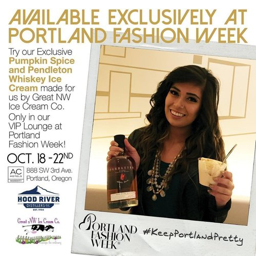 - .... and here is the rest of the story.......Portland is known for crafted beers, spirits, fine Pinots, and small batch, hand crafted locally made spirits, BUT did you know that we have a famous Ice Creamery here too?It was at Portland Fashion Week 2017 where we first introduced Hood River Distillery and their Pendleton Whisky to The Great NW Ice Cream Co., with their Love Child being a Pendleton Whisky/Pumpkin Spice Ice Cream, which then just happened to be available ONLY at PFW 2017!What delicious ingredients might be paired next? And where might one find it?