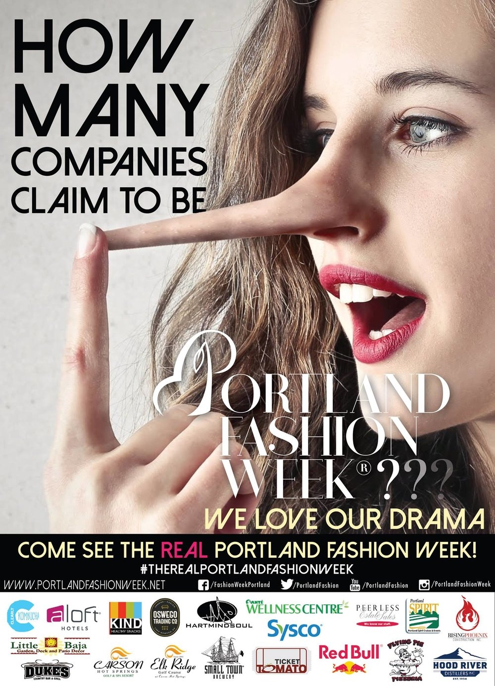 If the company doesn't say Portland Fashion Week..... - Anyone can claim laurels in private or drag TIME Magazine articles around, but if you are not dealing with PFW LLC then you are NOT dealing with #THEREALPORTLANDFASHIONWEEK.Beware as we have imitators in the form of disgraced ejected ex-producers claiming our glory and deliberately muddying waters. We ask anyone who is approached by ''Portland Fashion Week'' under a different organizational guise to please contact us. All communication will be held with the strictest confidentiality.PFW LLC Portland Fashion Week-Active since 2002.