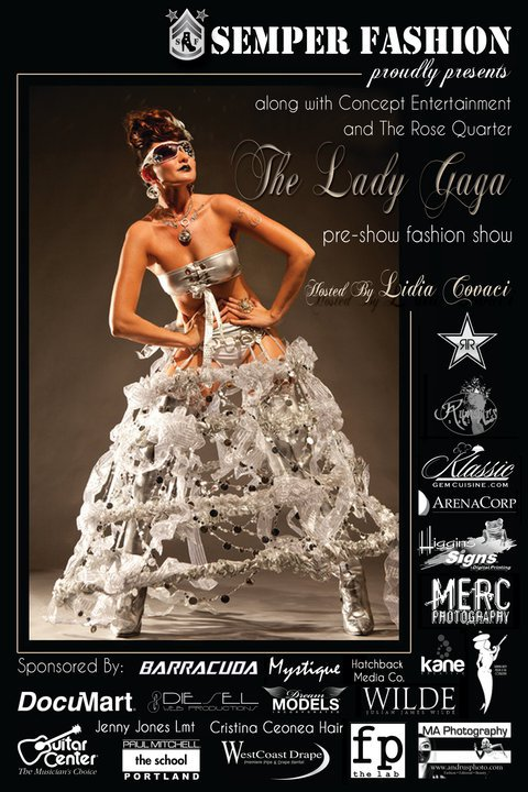 The Lady Gaga Pre Show Fashion Show, model Lidia Covaci