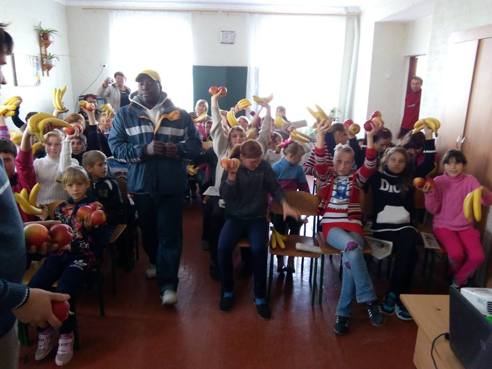 Damani at the Ukraine helping some of his orphans he supports