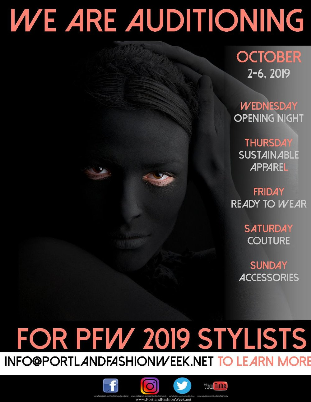 Portland Fashion Week 2019 - is seeking the most talented Make-up Artists and Hair-stylists in the Portland Metro region to work with the world's ONLY carbon negative fashion week.email us at info@portlandfashionweek.net to learn more!