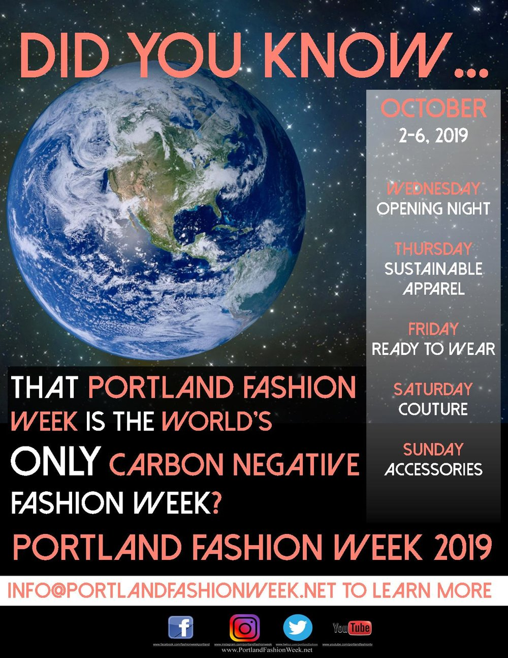 Portland Fashion Week is - The world's only carbon negative fashion week.Each year we offset our event's carbon foot print by our tireless tree planting efforts! Over 11,000 to date and by doing so we have contributed directly to the return of Johnson Creek's Coho salmon run, declared extinct for 40 years!We have also gone paperless; taken a stand against the corporate leather, palm oil and coconut water industries' cruel and environmentally degrading aspects; championed fair and ethical labour practice, source only organic consumables; banned plastics and non cruelty free styling products from our events; and we are honored to be among the first progenitors within the world's current green and sustainable fashion movement.And we thank our supporters for helping to make it all happen.